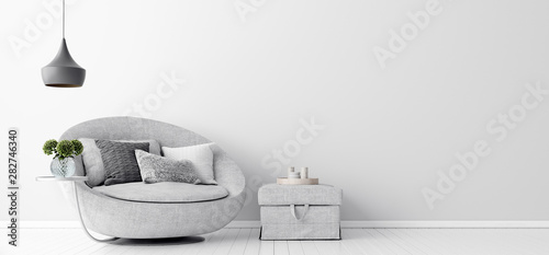 Photo  Home interior with gray sofa and white wall mock up, Scandinavian style, 3d rend