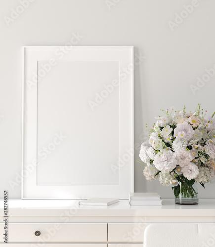 fototapeta na szkło Modern home interior, poster mock up, 3d render