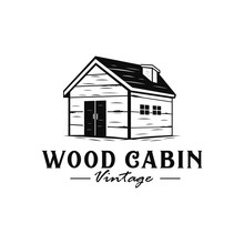 Wood Cabin Vintage Logo With H...