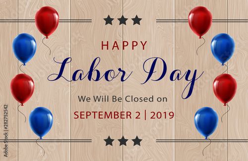 Fotomural happy labor day september 2nd 2019 we will be closed on sign for business federa