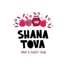 Shana Tova Desserts Flat Vector Banner Template