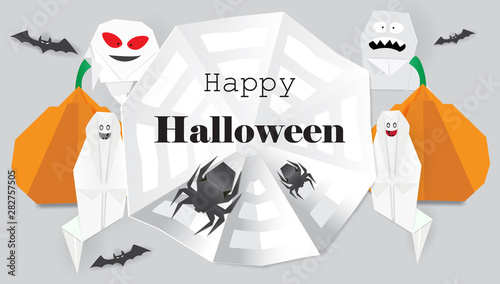 Fotografía Background with origami spiders,ghost,pumpkin and Happy Halloween lettering