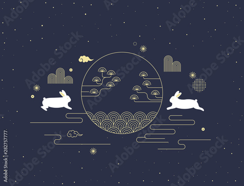 Mid autumn festival vector illustration with Korean traditional pattern and rabbits. Wall mural
