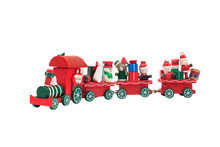 Christmas Train Toy Model Carry Snowman And Gifts Isolated On White Background.