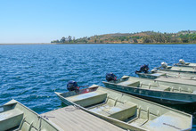 Small Pier With Pedal Boat, Small Motor Boat. Lake With Popular Activities Including Boating, Fishing. Miramare Lake, San Diego, California, USA