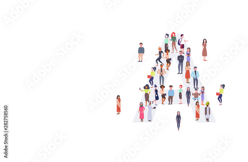 Fototapeta businesspeople crowd gathering in letter A shape English alphabet concept mix race men women casual people group standing together full length horizontal obraz