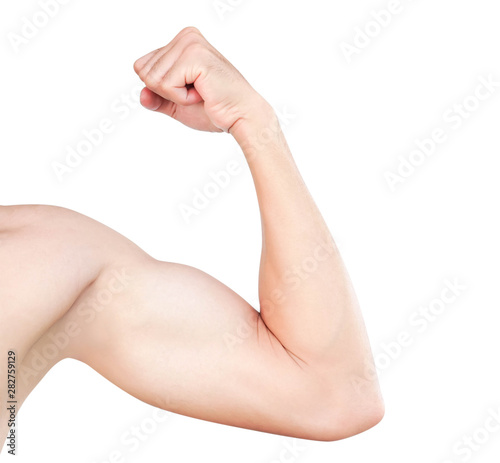 Leinwand Poster Asian man show arm with bicep isolated on white background, health care and medi