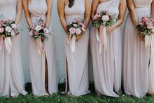Bridesmaids Holding Wedding Bouquets, Pink Bridesmaids Dresses, Detail Shot, Copy Space