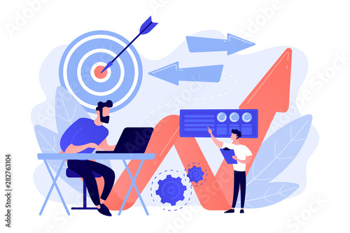 Businessman with laptop, target and arrows Wallpaper Mural