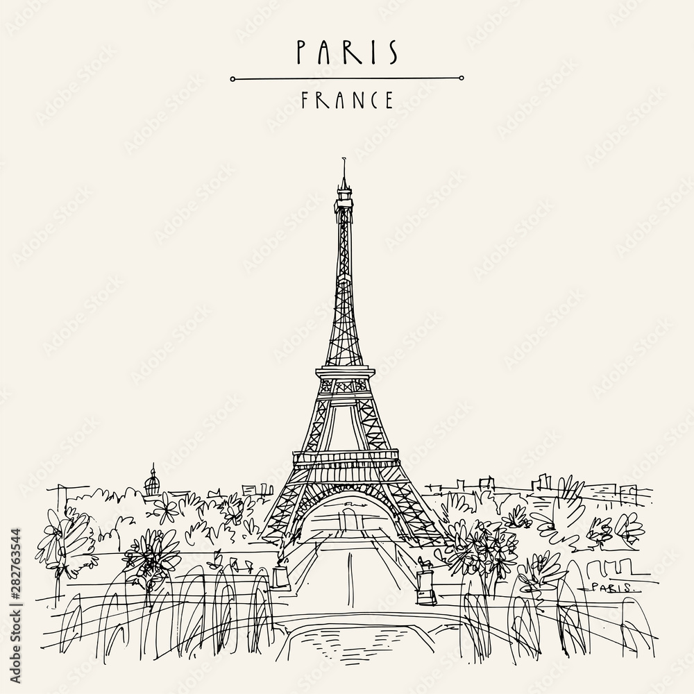Fototapeta  Paris, France, Europe. Eiffel Tower. Artistic hand drawing in retro style. European travel sketch. Vintage hand drawn touristic postcard, poster or book illustration in vector