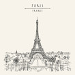 Paris, France, Europe. Eiffel Tower. Artistic hand drawing in retro style. European travel sketch. Vintage hand drawn touristic postcard, poster or book illustration in vector