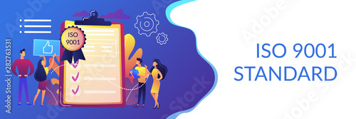 Obraz Tiny business people like standard for quality control. Standard for quality control, ISO 9001 standard, international certification concept. Header or footer banner template with copy space. - fototapety do salonu