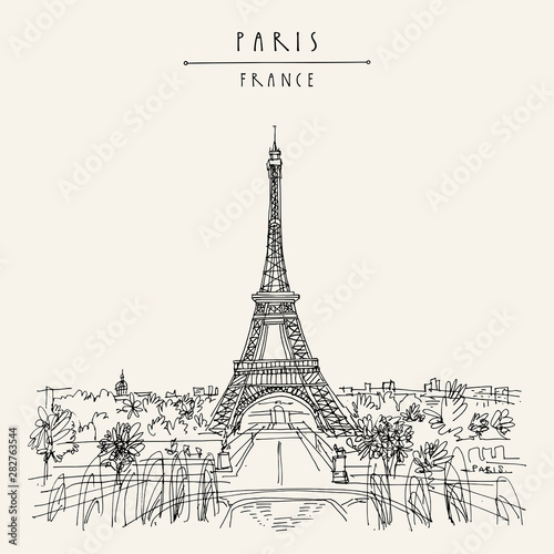 Paris, France, Europe. Eiffel Tower. Artistic hand drawing in retro style. European travel sketch. Vintage hand drawn touristic postcard, poster or book illustration in vector - 282763544