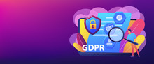 GDPR And Cyber Security, Confidential Database. General Data Protection Regulation, Personal Information Control, Browser Cookies Permission Concept. Header Or Footer Banner Template With Copy Space.