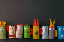 Halloween Monsters Doll From Toilet Paper Tube Roll. Creative DIY For Kids. Home Decor For Party. Paper Handie Crafts Inspiration. Eco-friendly Reuse Recycle Idea