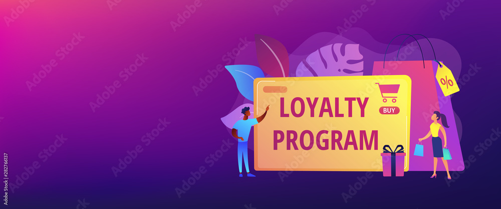 Fototapeta Rewards scheme for customers. Marketing strategy. Clients attraction. Loyalty program, personalized promotion, use your purchase history concept. Header or footer banner template with copy space.