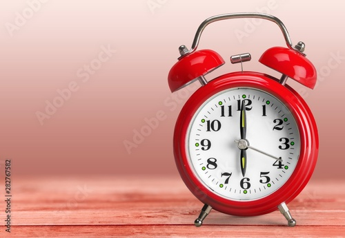 Retro alarm clock on   background Canvas Print