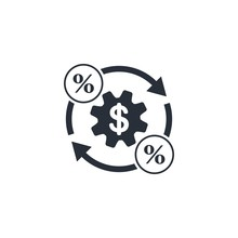 Financial Management. Synchronization. Flat Vector Icon On A White Background.