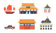 Chinese Traditional Architectural and Cultural Symbols Set, Travel to Asian Countries Vector Illustration