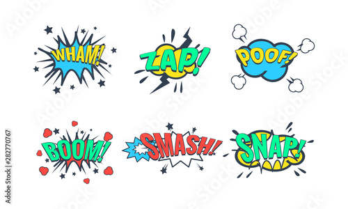 Foto auf Leinwand Logo Comic Speech Bubble with Text Set, Comic Sound Effects, Wham, Zap, Poof, Boom, Smash, Snap Vector Illustration