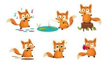 Cute Little Fox Doing Different Activities Set, Adorable Animal Character Fishing, Dancing, Running, Dying Vector Illustration