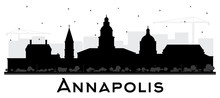 Annapolis Maryland City Skyline Silhouette With Black Buildings Isolated On White.