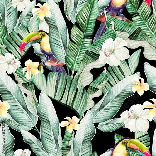 piekny-wzor-akwarela-z-lisci-tropikalnych-i-lisci-bananowca-ptakow-tukan-i-kwiaty-hibiskusa