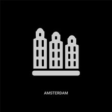 White Amsterdam Vector Icon On Black Background. Modern Flat Amsterdam From Travel Concept Vector Sign Symbol Can Be Use For Web, Mobile And Logo.