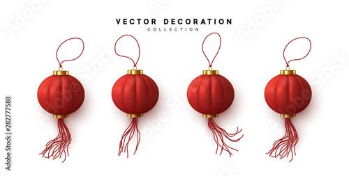 Photo  Chinese hanging red lanterns realistic isolated on white background