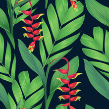 Seamless Pattern Of Heliconia Flowers Or Lobster-claws And Tropical Leaf Background. Vector Set Of Exotic Tropical Garden For Holiday Invitations, Greeting Card And Fashion Design.