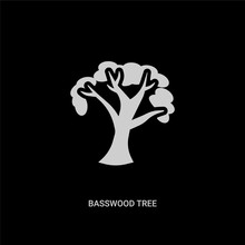 White Basswood Tree Vector Icon On Black Background. Modern Flat Basswood Tree From Nature Concept Vector Sign Symbol Can Be Use For Web, Mobile And Logo.