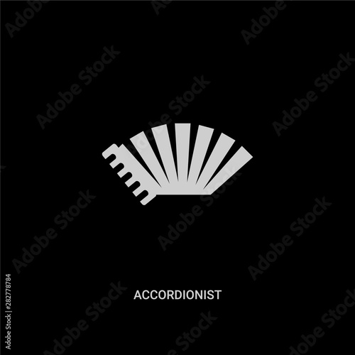 white accordionist vector icon on black background Fototapet
