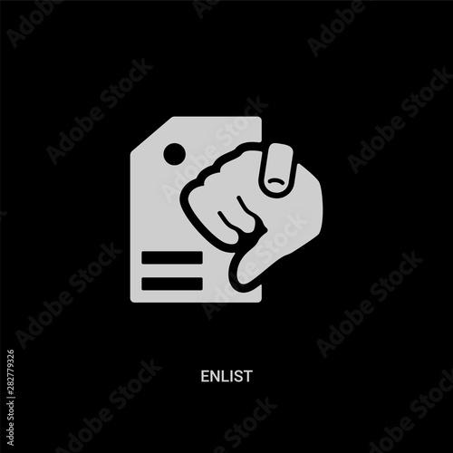 Photo  white enlist vector icon on black background