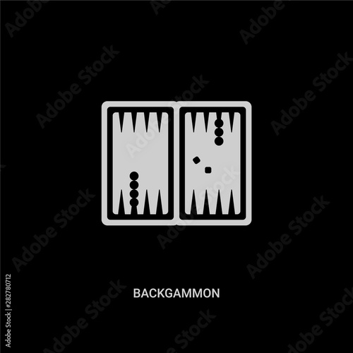 Fotografia, Obraz white backgammon vector icon on black background