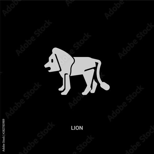 white lion vector icon on black background Canvas Print
