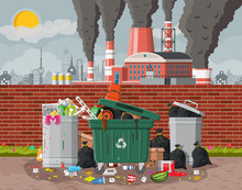 Plant Smoking Pipes. Smog In City. Trash Emission From Factory. Grey Sky Polluted Trees Grass. Garbage Bin Full Of Trash. Environmental Pollution Ecology Nature. Vector Illustration Flat Style