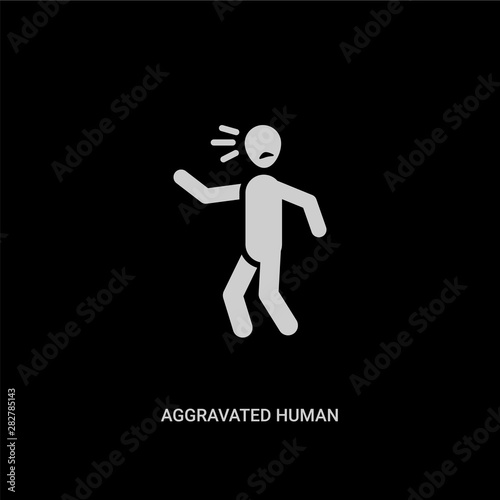 Photo white aggravated human vector icon on black background