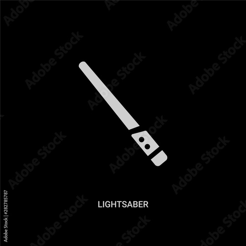 white lightsaber vector icon on black background Canvas Print