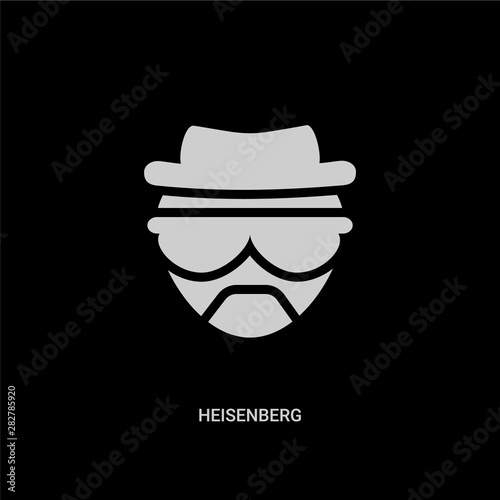 Photo white heisenberg vector icon on black background