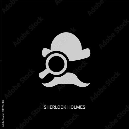 Photo  white sherlock holmes vector icon on black background