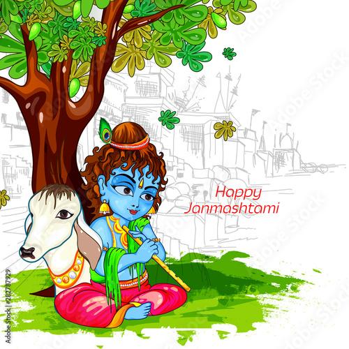 illustration of Lord Krishna playing bansuri, dahi handi celebration in Happy Janmashtami festival of India #282787929