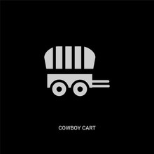 White Cowboy Cart Vector Icon On Black Background. Modern Flat Cowboy Cart From Desert Concept Vector Sign Symbol Can Be Use For Web, Mobile And Logo.