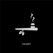 White Calumet Vector Icon On Black Background. Modern Flat Calumet From Culture Concept Vector Sign Symbol Can Be Use For Web, Mobile And Logo.