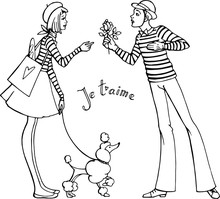 Vector Hand Drawn Illustraton . Girl, Boy, Rose, Poodle, Franch Style, Love In Paris. Line Art. Black And White.
