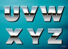 Vector Realistic Chrome Letter...