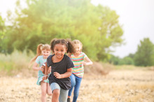 Cute Little Children Running O...