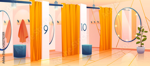 Foto Fitting rooms in store, row of vacant individual dressing cabins with curtains, mirrors and hangers in apparel shopping mall, changeroom interior in fashion department