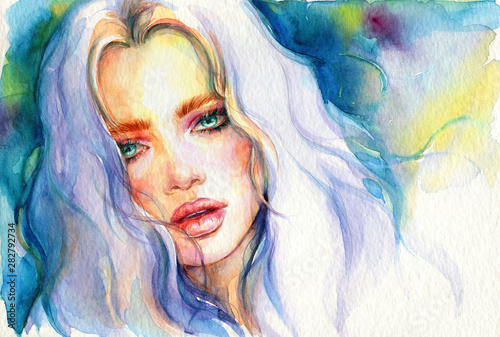 Abstract woman. Fashion illustration. Watercolor painting