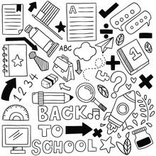 Hand Drawn Set Of School Icons...