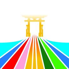 Sport Gate Finish With More Color Bold Line Illustration